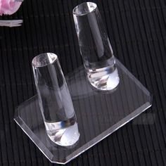 Clear Glass Dual Finger Ring Jewelry Display Stand Holder 3x2x2 AU $4.49