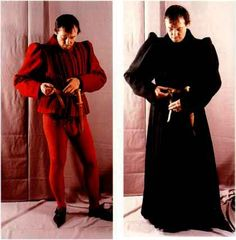 15th Century Clothing Men. Hose, codpiece, doublet, over-doublet and gown (right hand side)