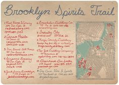 Brooklyn Spirits Trail map courtesty of Widow Jane Whiskey (Red Hook, NY) Distillery, Brewery, Distilling Equipment, Red Hook, Tour Guide, Gin, Artisan, Spirit, Brooklyn