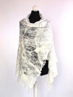 Openwork shawl Cobweb wedding white scarf silk merino wool