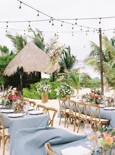 Beach-infused wedding table decor: http://www.stylemepretty.com/2017/05/19/a-colorful-tulum-mexico-lovefest/ Photography: Vanessa Jaimes - http://vanessajaimes.com/
