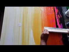 Abstract painting / Simple and EASY / Using rubber squeegee in acrylics / Demonstration - YouTube