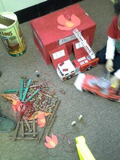 Community helpers theme, fire station in block area, preschool classroom