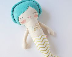 SALE Fairy Tale Collection - Teal Hair Mermaid Rag Doll - Customizable Children's Soft Stuffed Plush Toy