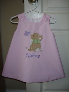 Baby or toddler girls embroidered spring Easter bunny rabbit butterfly applique personalized monogrammed jumper dress.