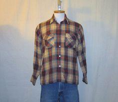 Vintage Amazing 70s PLAID FLANNEL OUTERWEAR Grunge Unisex Medium Cozy Stylish Wool Acrylic Nylon Button Up Shirt
