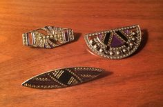 Vintage Pierre Bex Art Deco enamel bar pins.