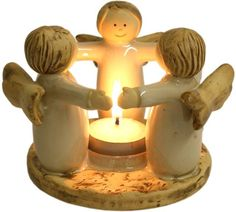 Ceramic angel ring tea light candle holder