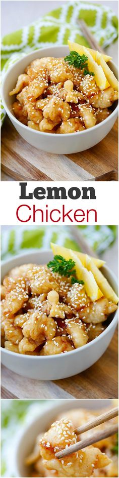 Lemon chicken – the easiest and crazy delicious chicken with tangy and sweet lemon sauce. Easy lemon chicken recipe that is MUCH better than takeout | rasamalaysia.com