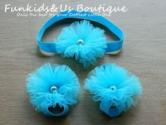 Baby Barefoot and headband Bright Blue by FunkidsandUsBoutique, $8.50