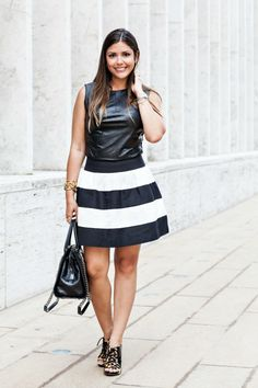 Fashion Truffles wearing Annie Griffin Colleciton's striped Olivia skirt at NYFW!
