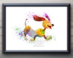 Disney Toy Story Slinky Dog Watercolor Painting Art Poster Print Wall Decor https://www.etsy.com/shop/genefyprints