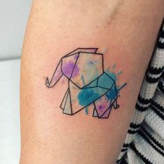Origami Watercolor Elephant Tattoo - Elephant Tattoo Designs - The Best Elephant Tattoo Designs - Cute Elephant Tattoo Designs and Ideas - Sexy Thigh Tattoo, Small Elephant Tattoo, Elephant Outline, Elephant Tattoo Meanings Origami Elephant Tattoo, Geometric Elephant Tattoo, Geometric Watercolor Tattoo, Watercolor Elephant Tattoos, Cute Elephant Tattoo, Elephant Tattoo Design, Elephant Outline, Tattoo Watercolor, Origami Tattoo