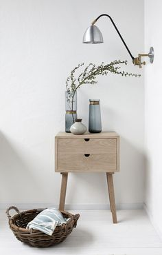 Simple wooden dresser from Hubsch Interior. A clear design that works out anywhere, in the hallway, in the bathroom, in the living room next to your favorite chair or next to the bed as an original bedside table. Industrial Design Furniture, Vintage Furniture, Furniture Design, Car Furniture, Industrial Table, Nordic Interior, Home Interior Design, Interior Styling, Home Bedroom