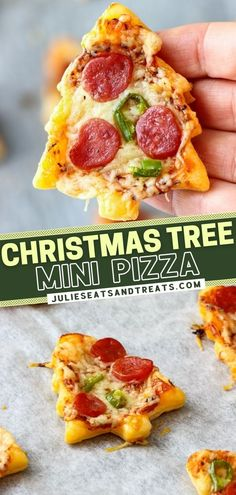 The perfect treat for your holiday party! This delicious recipe for Christmas Tree Mini Pizza is easy to make using 5 ingredients. In just 30 minutes, you are ready to serve a fun snack or a festive appetizer that is sure to be a crowd-pleaser! Pin this for later!