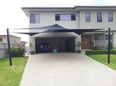 Double Shade Sails for extra car protection in Upper Coomera Triangle Sun Shade, Sun Sail Shade, Shade Sails, Sun Sails, Backyard Shade, Patio Shade, Carport Shade, Carport Designs, Carport Ideas