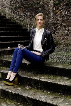 shoes, blouse, leather jacket // The Blonde Salad: Milano flashback