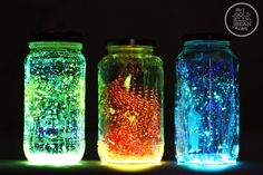 DIY Glow Jars - Fairies in a jar-  How To Make Fairies In A Jar This is something everyone will love you can just imagine the look on your childs face when they see this and its something they will never forget so its worth a little work on this one. FAIRIES IN A JAR DIRECTIONS: 1. Cut a glow stick and shake the contents into a jar. Add diamond glitter 2. Seal the top