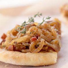 Fontina, Caramelized-Onion, and Pancetta Pizza   MyRecipes.com