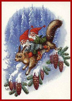 Znalezione obrazy dla zapytania Three gnomes on skis on porch of snow-covered cottage Swedish Christmas, Old Christmas, Christmas Gnome, Scandinavian Christmas, Retro Christmas, Christmas Holidays, Vintage Christmas Images, Christmas Pictures, Troll