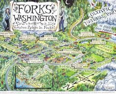 "This map was drawn by Tim Kirk, colored by Laura Edwards and published in ""Twilight Tours: An Illustrated Guide to the Real Forks"" by George Beahm, photographs by Mike Gurling. If you are attending #FTF2018, you have the opportunity to purchase an original version poster AND/OR a newly updated version, as well as illustrated/signed bookplates for your Twilight Tours books. This will all be available exclusively at the Forks VIC and online via http://ForksWA.com/Online-Store"