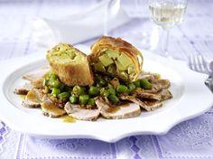 Schweinefilet mit Bohnencrunch und Kartoffelstrudel Rezept