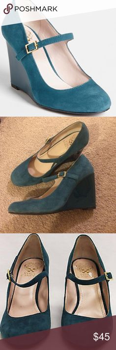 Vince Camuto: Teal suede Mary Jane wedges Rich teal colored wedge pumps. Gently used condition. Shows age of normal wear and tear. Comfortable 3inch heel with dainty strap. Vince Camuto Shoes Wedges
