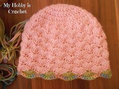 My Hobby Is Crochet: Shell Stitch Earflap Hat with Flower Applique - Free Crochet Pattern