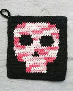 Check out this item in my Etsy shop https://www.etsy.com/listing/532149265/hand-crocheted-pink-and-black-skull-pot