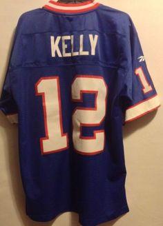 Reebok Sewn Jim Kelly Throwbacks Vintage Jersey  12 Buffalo Bills 1990 M Jim  Kelly 4b58af4ab