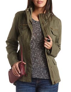Funnel Neck Twill Utility Jacket: Charlotte Russe
