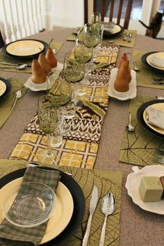 Runner made from upholstery fabric samples.  Thanksgiving tablescape.