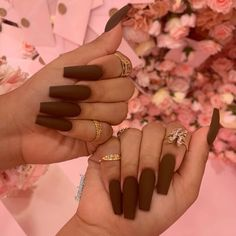This time we collected more than 100 Long Coffin Nails Ideas that fashion celebrities often try. So, what are you waiting for? Come on, check and enjoy these amazing nails! Brown Acrylic Nails, Best Acrylic Nails, Summer Acrylic Nails, Brown Nails, Summer Nails, Cute Nail Colors, Fall Nail Colors, Bright Colors, Cute Nails For Fall