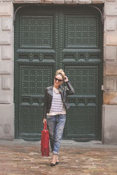 Sunnies . Dior Mohotani Jeans . True Religion Bag . SuitBlanco Top Navy . Primark Necklace . Zara Biker . Zara Shoes . Dune vía Sarenza