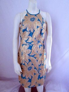 Trina Turk Gold Blue Floral Sleeveless Acetate Sexy Cocktail Dress 10 #TrinaTurk #Sexy #Cocktail