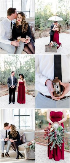 Check out this couple's timeless engagement photography shoot with props, outfits and details inspired by classic 1940's elegance!