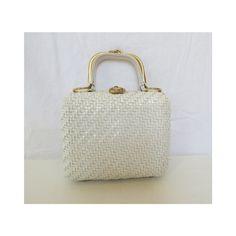 Wicker Purse / Wicker Handbag / 60's White Box Purse / Woven Purse / Woven Bag / Basket Purse / Vegan Purse / White Woven Bag / Wicker Bag by GoodLuxeVintage on Etsy