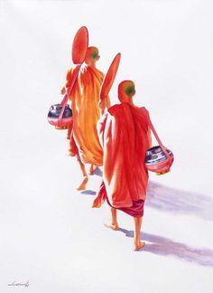 Towards Monastery (2) by Min Wae Aung - watercolor
