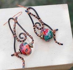 Classical Red Green Polymer Clay Spiral Unique Wrap Earrings Jeanninehandmade #Jeanninehandmade #Wrap