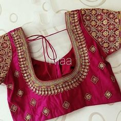 Magenta Bridal and Wedding Heavy Silk Blouse – FashionVibes Cutwork Blouse Designs, Kids Blouse Designs, Pattu Saree Blouse Designs, Simple Blouse Designs, Stylish Blouse Design, Bridal Blouse Designs, Blouse Neck Designs, Zardosi Work Blouse, Blouse Patterns