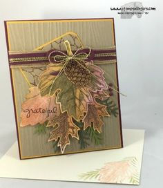 Stamps-N-Lingers.  Vintage Leaves and Leaflets Framelits, Christmas Pines and Pretty Pine Thinlits.  Endless Thanks.  Woodgrain and Petal Burst TIEFs. https://stampsnlingers.com/2016/09/13/stampin-up-vintage-leaves-pines-for-the-fallhalloween-blog-hop/