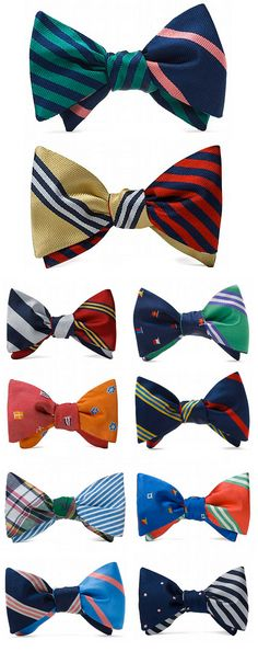 Love the eclectic mix of prints and colors in these reversible bow ties. {Idea: make some as hair clips or headbands.}