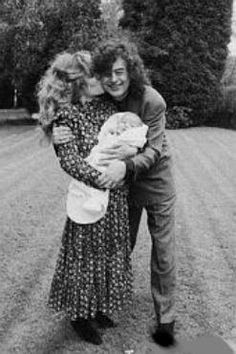 Jimmy Page and (then) wife Patricia Ecker and their newborn son, James Patrick Page III in 1988. They divorced in Jan. 1995. Photo credit: Ross Halfin