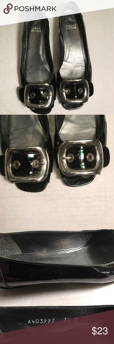 """Stuart Weitzman black patent leather flats Size 7.5  M. Open toe. Has small .75"""" wedge heel. Leather. Made in Spain. Black patent leather has scuffs and three tiny round knicks on wedge inner part of right shoe see pic7 and one on back of wedge heel of left shoe. See pic6.Wear on sole. Still much life left in these shoes! Stuart Weitzman Shoes Flats & Loafers"""