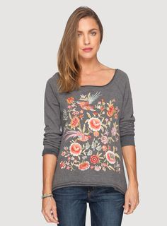 Johnny Was JWLA Embroidered Cotton Brielle High/Low Sweatshirt in Charcoal Grey - Plus Size Plus Size Bohemian Clothing, Designer Plus Size Clothing, Johnny Was Clothing, Fashion Plates, Western Wear, Playing Dress Up, Boho Dress, Plus Size Outfits, Plus Size Fashion