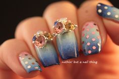 Gradient nail art with extra bling!