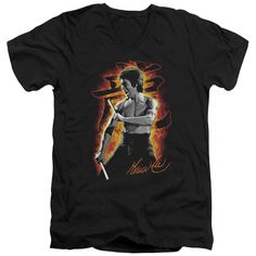 BRUCE LEE/DRAGON FIRE - S/S ADULT V-NECK 30/1 - BLACK -