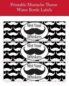 PRINTABLE Mustache Theme Water Bottle Labels by JenniQuePrintShop