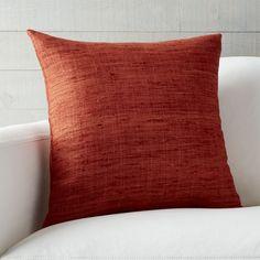 "Trevino Terra Cotta Orange 20"" Pillow with Down-Alternative Insert - Crate and Barrel"