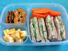 Cucumber Sandwiches, Carrots, Pretzel Crisps, and Cheese Cubes